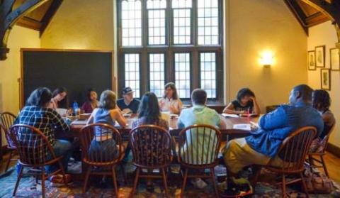 """Senior Lecturer of humanities Kathryn Slanski leads a discussion in a """"Citizens, Thinkers, Writers"""" seminar"""