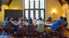 "Senior Lecturer of humanities Kathryn Slanski leads a discussion in a ""Citizens, Thinkers, Writers"" seminar"
